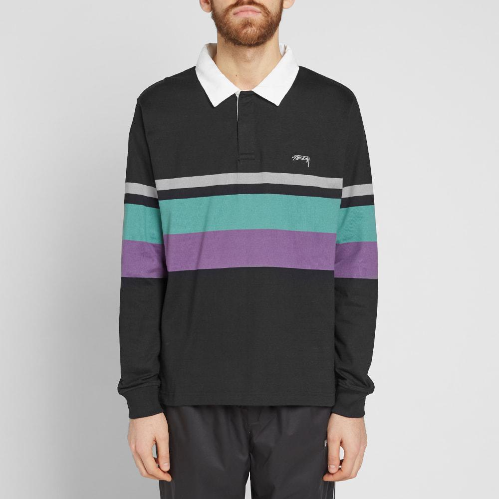 699bc7131e3 Stussy Lucas Stripe Rugby Shirt in Black for Men - Lyst