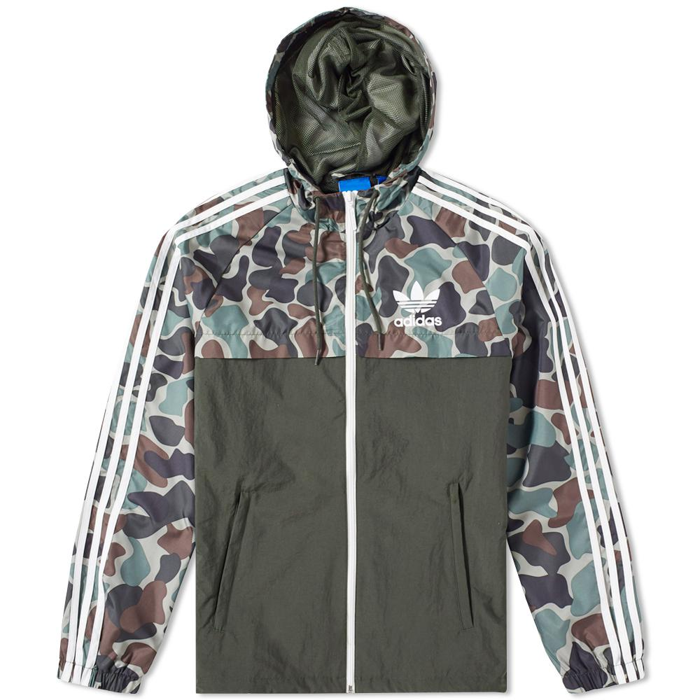 lyst adidas originals reverse camo windbreaker in black. Black Bedroom Furniture Sets. Home Design Ideas