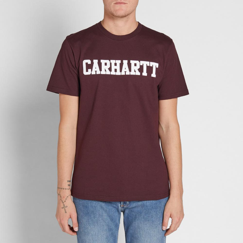 Lyst carhartt wip college tee in purple for men for Carhartt burgundy t shirt