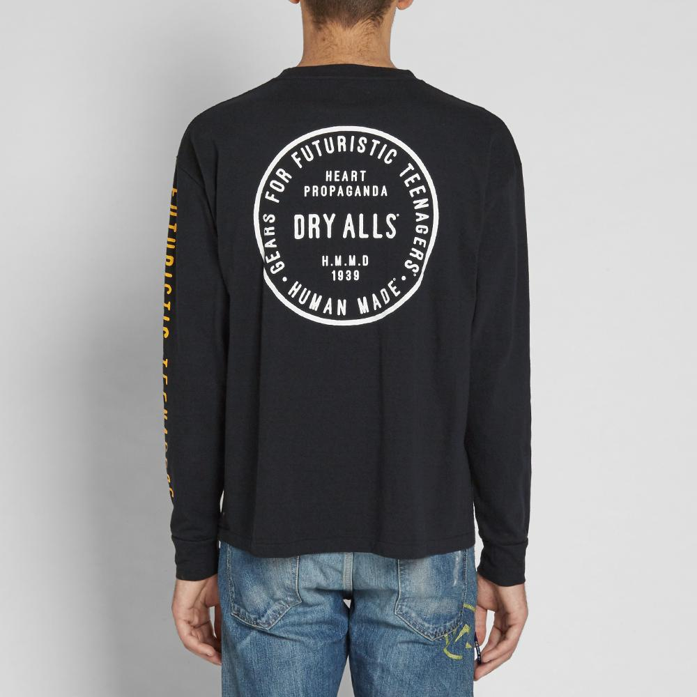 Lyst human made long sleeve arm print tee in black for men for Shirts for men with long arms
