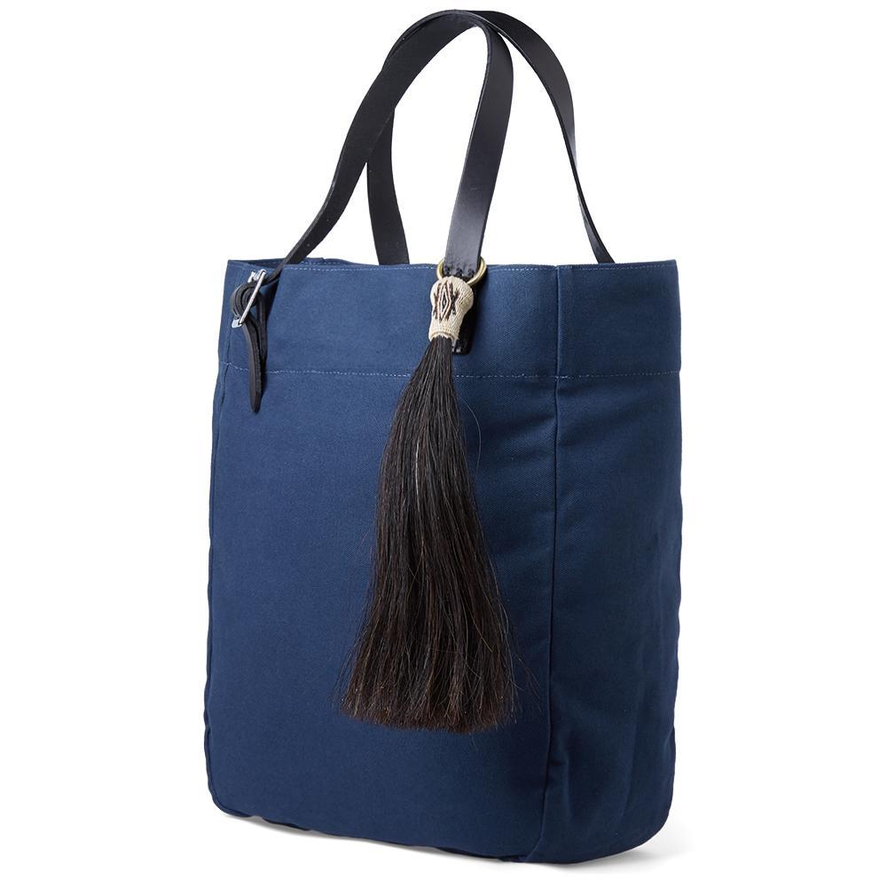 Yuketen Cotton Market Tassel Tote Bag in Blue
