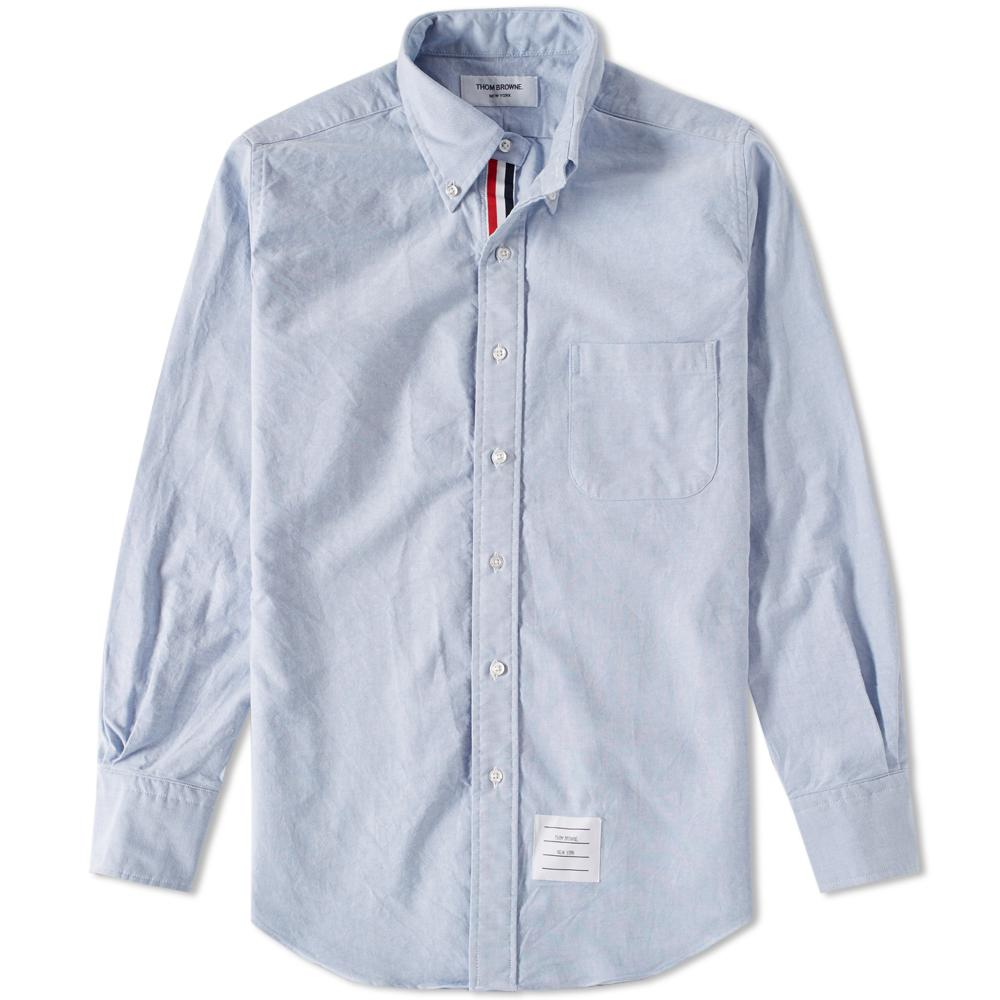 Thom browne classic grosgrain placket oxford shirt in blue for Thom browne shirt sale