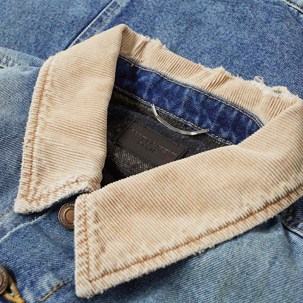 fa0cd5826a Saint Laurent - Blue Corduroy Collar Denim Jacket for Men - Lyst. View  fullscreen