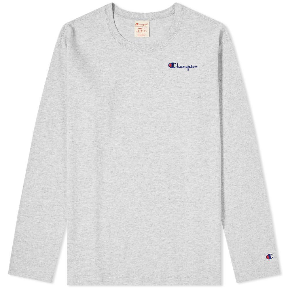 15fc87f74875 Champion Women s Long Sleeve Logo Script Tee in Gray - Lyst