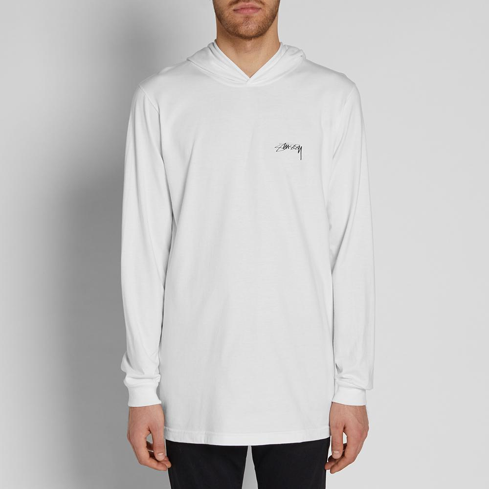 Lyst stussy long sleeve hooded design tee in white for men for Long sweaters and shirts
