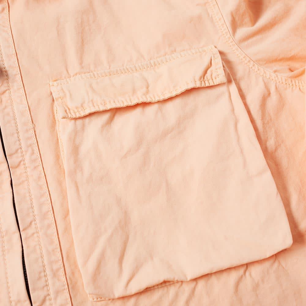 Stone Island Cotton Tela Smerigliata Garment Dyed Zip Overshirt in Pink for Men