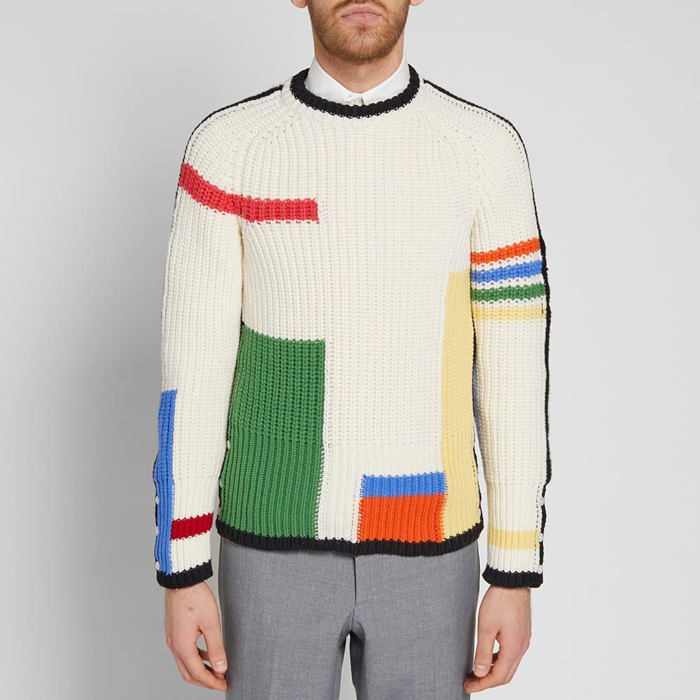 Thom Browne Wool 4 Bar Stripe Rib Merino Crew Knit for Men