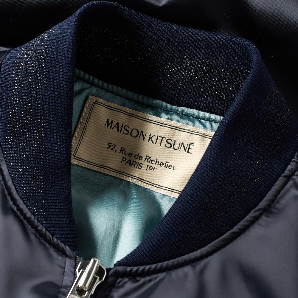 Maison Kitsuné Maison Kitsuné Satin Bomber Jacket in Blue for Men