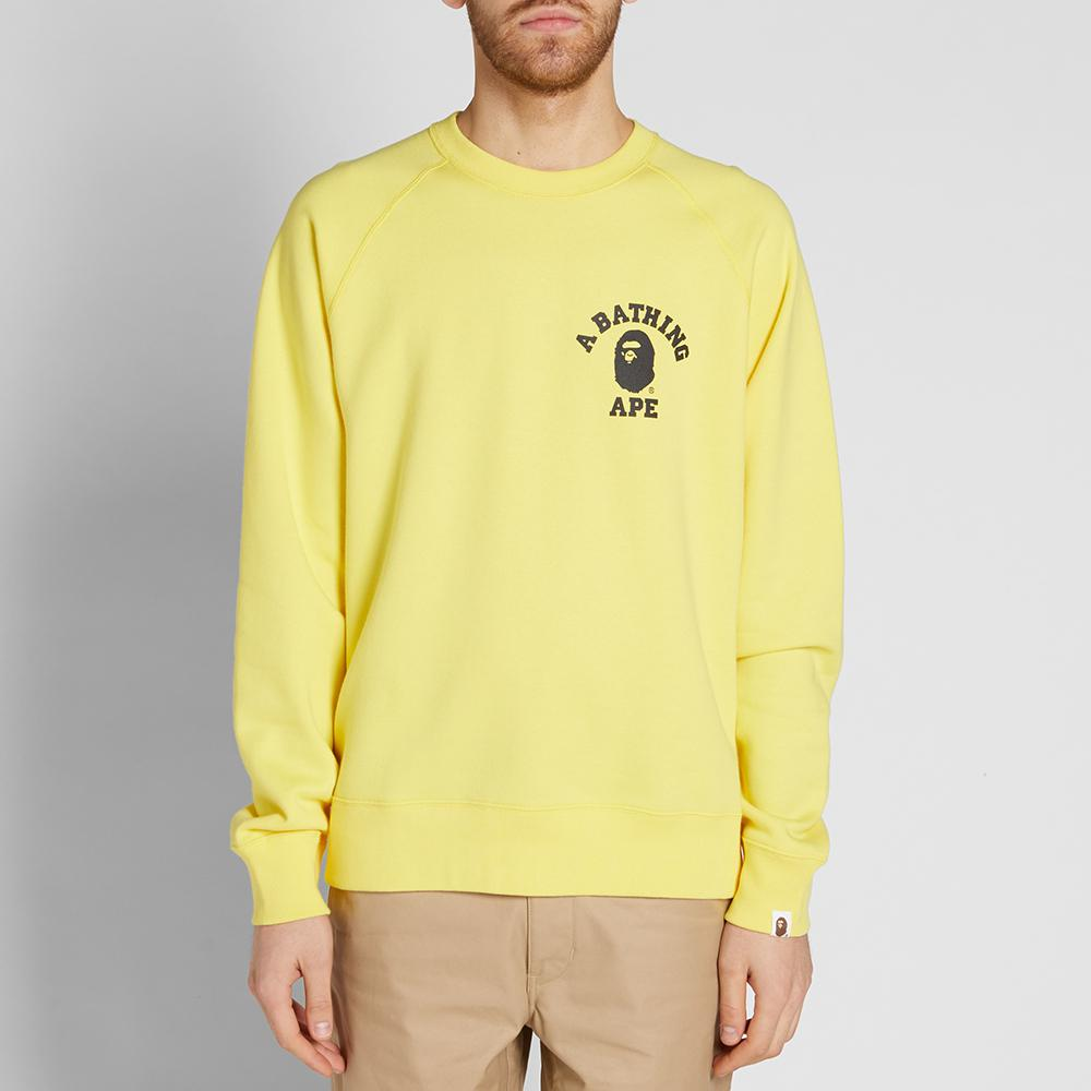A bathing ape Neon College Wide Crew Sweat in Yellow for ...