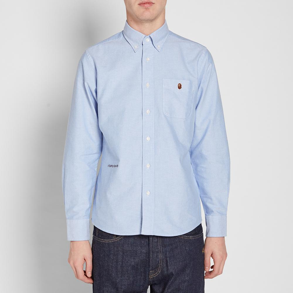 972bab5a A Bathing Ape Embroidery Oxford Button Down Shirt in Blue for Men - Lyst