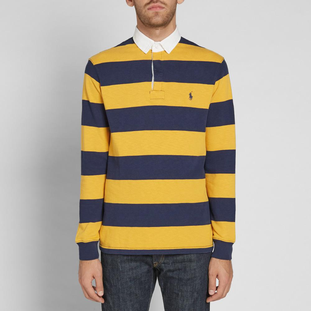 Lyst Polo Ralph Lauren Stripe Rugby Shirt In Blue For Men
