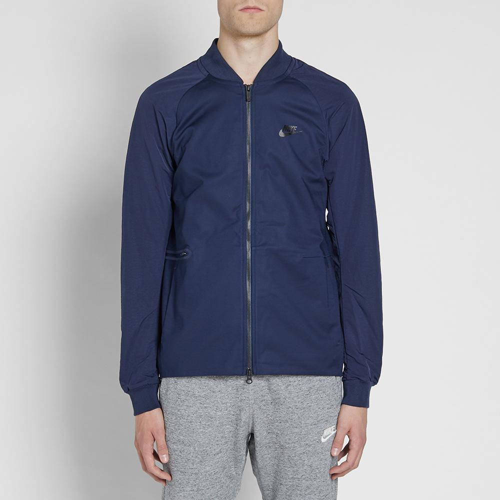 Nike Cotton Woven Varsity Jacket in Blue for Men