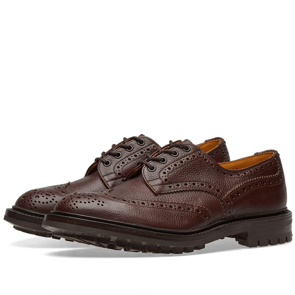 Bourton Burnished Pebble-grain Leather Wingtip Brogues - BurgundyTrickers 23xR8