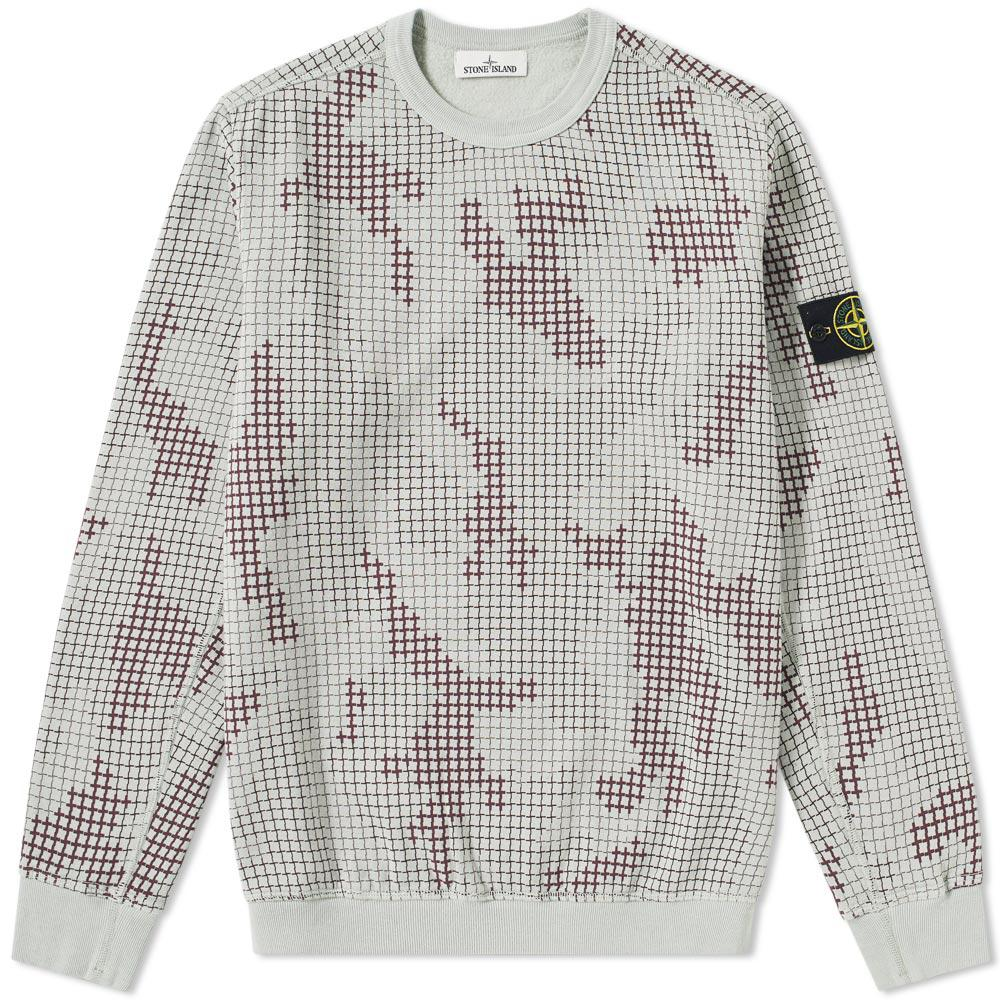 ce3bb4cc Stone Island Grid Camo Crew Sweat in Gray for Men - Lyst