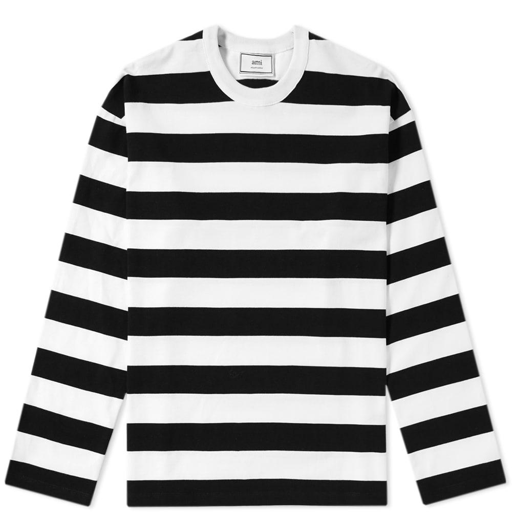 Lyst ami striped long sleeve tee in black for men save 6 for Black and white striped long sleeve shirt women
