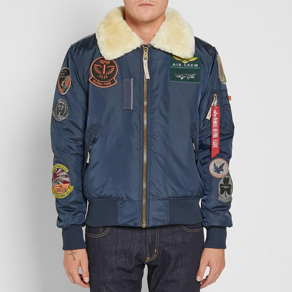 lyst alpha industries injector iii patch jacket in blue. Black Bedroom Furniture Sets. Home Design Ideas