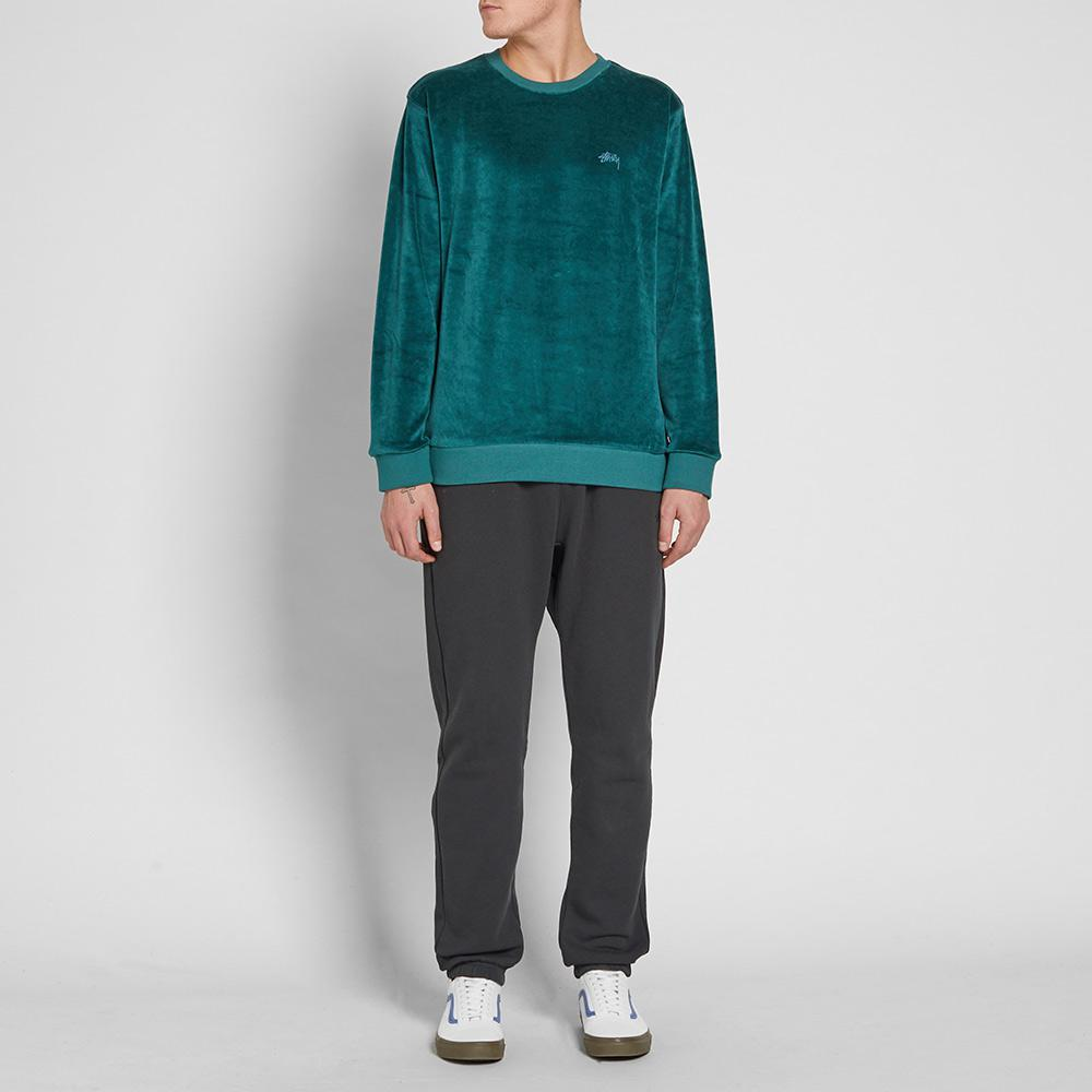 Stussy Cotton Velour Crew Sweat in Green for Men