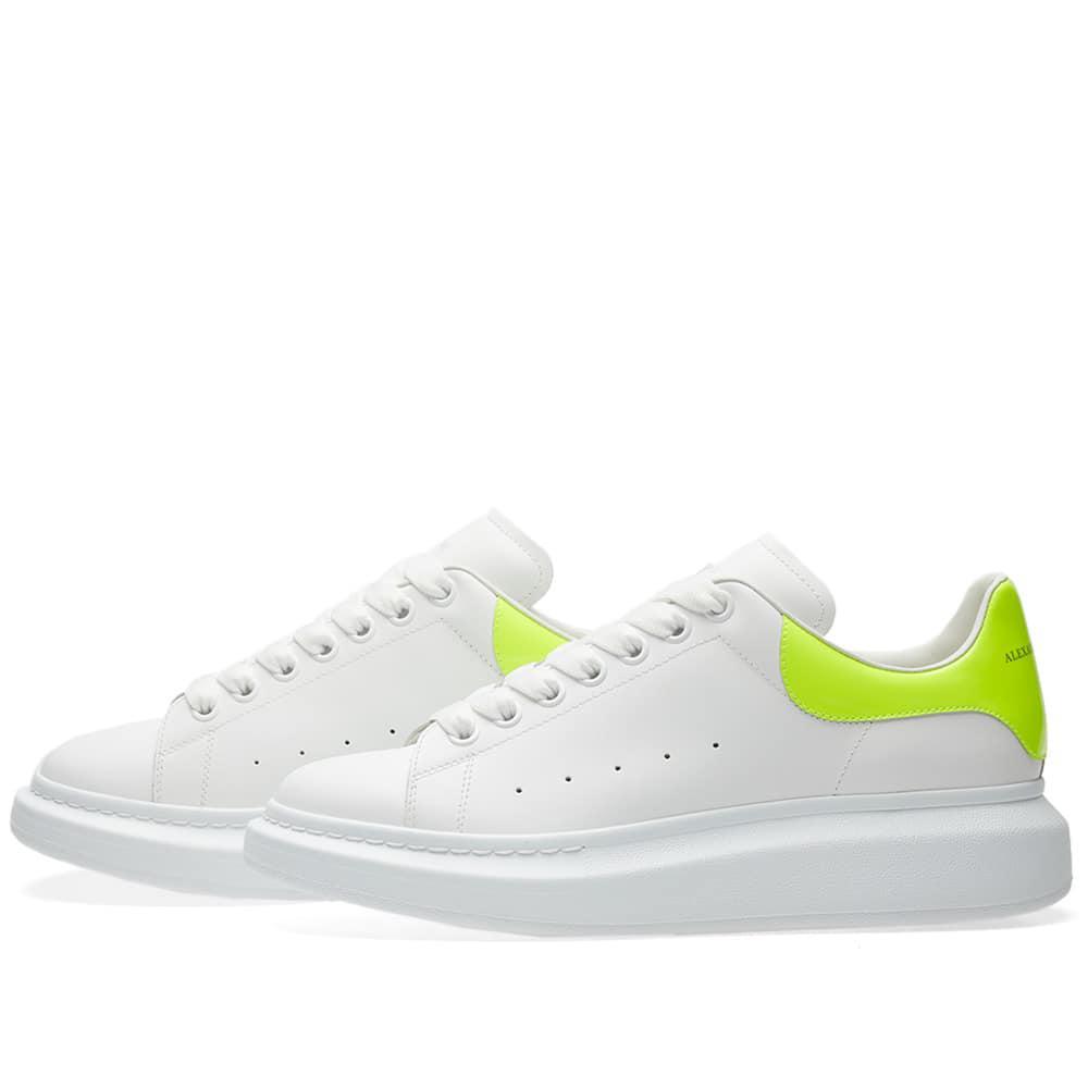 84cb188cf239 Lyst - Alexander McQueen Wedge Sole Fluro Heel Tab Sneaker in White ...