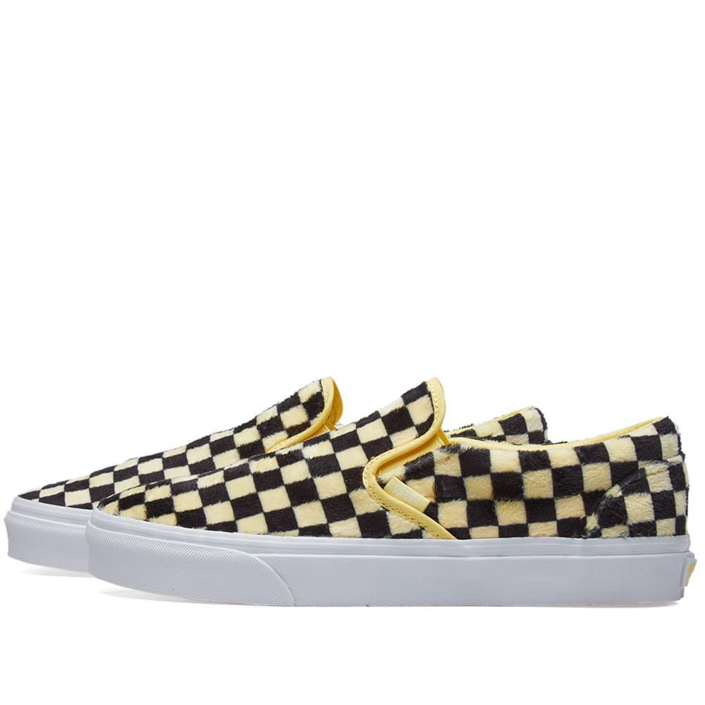0dc862fb32 Lyst - Vans Women s Ua Classic Slip On Furry Checkerboard in Yellow