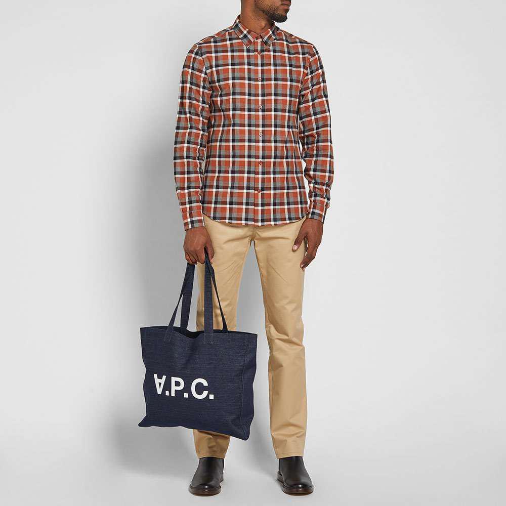 A.P.C. Logo Denim Tote Bag in Blue for Men