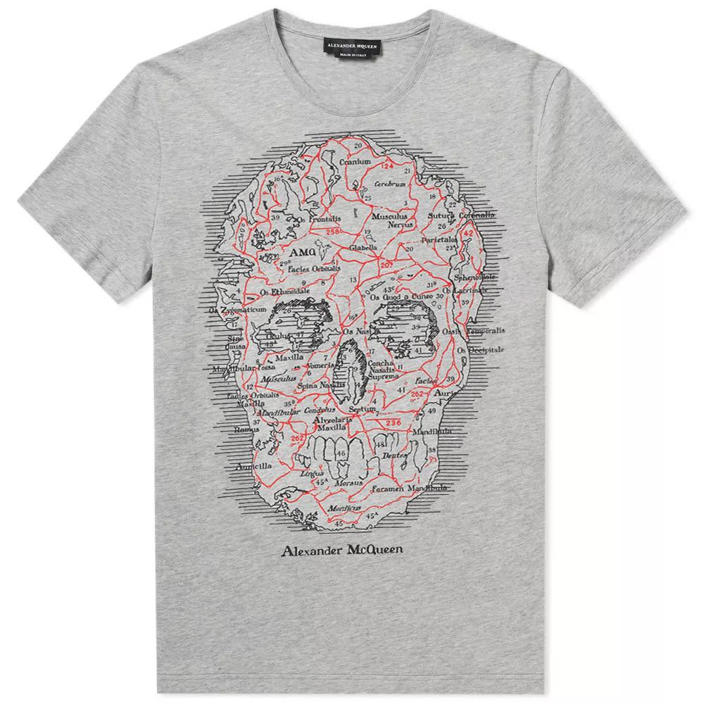 b79446d4 Alexander McQueen - Gray Skull Map Tee for Men - Lyst. View fullscreen