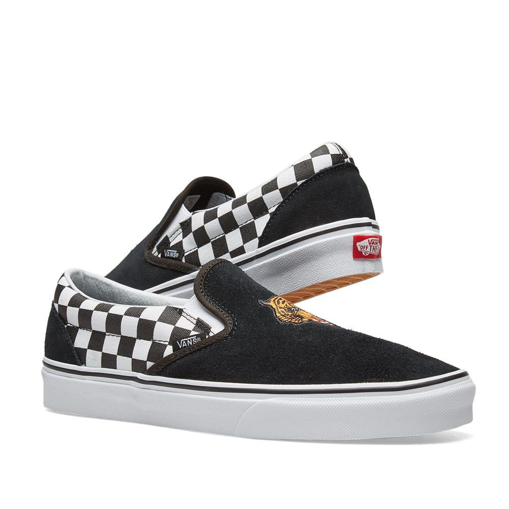 Lyst - Vans Ua Classic Slip On Tiger Check in Black for Men 9fc508c9a7d