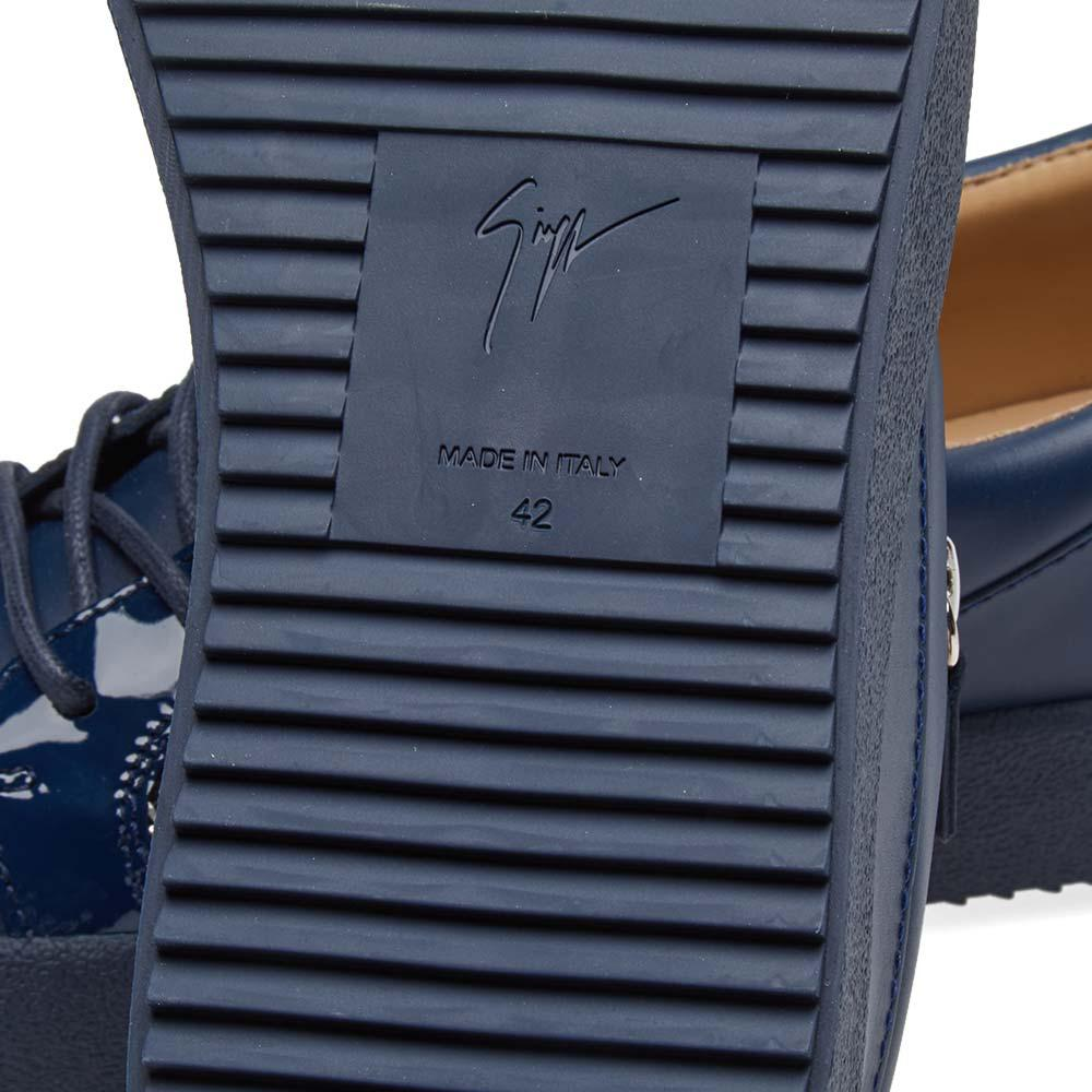 Giuseppe Zanotti Canvas Panelled Double Zip Low Sneaker in Blue