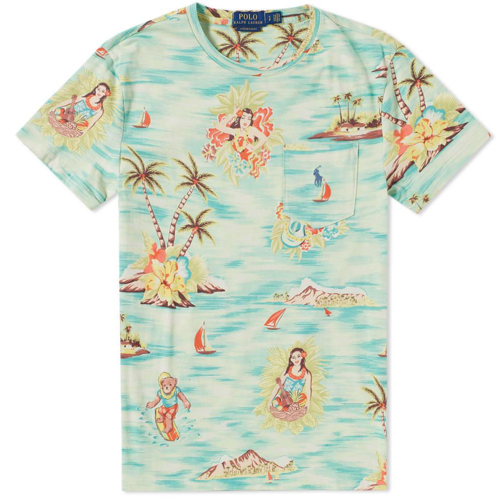 b23bc55a22cca Lyst - Polo Ralph Lauren Printed Hula Girl Pocket Tee in Green for Men