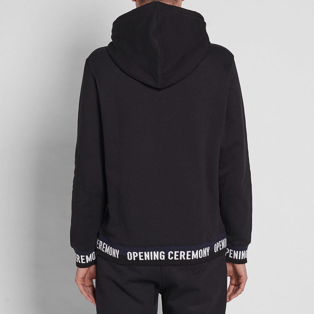 Opening Ceremony Cotton Tape Logo Hoody in Black for Men
