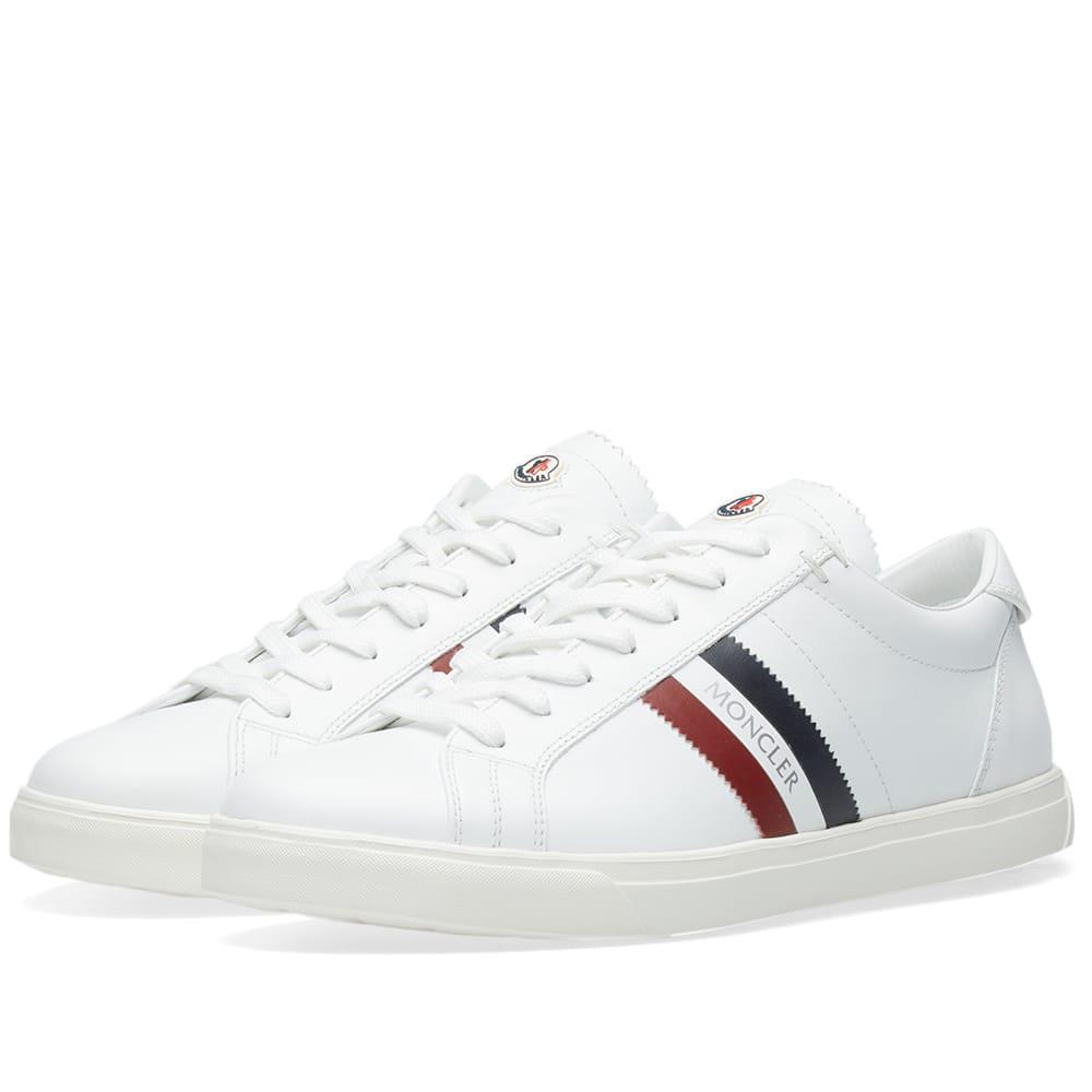 Moncler - White La Monaco Tricolour Stripe Leather Sneaker for Men - Lyst.  View fullscreen 09c1bc9e947