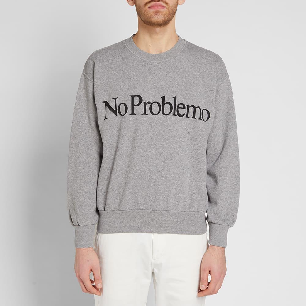 Aries Cotton No Problemo Crew Sweat in Grey (Grey) for Men