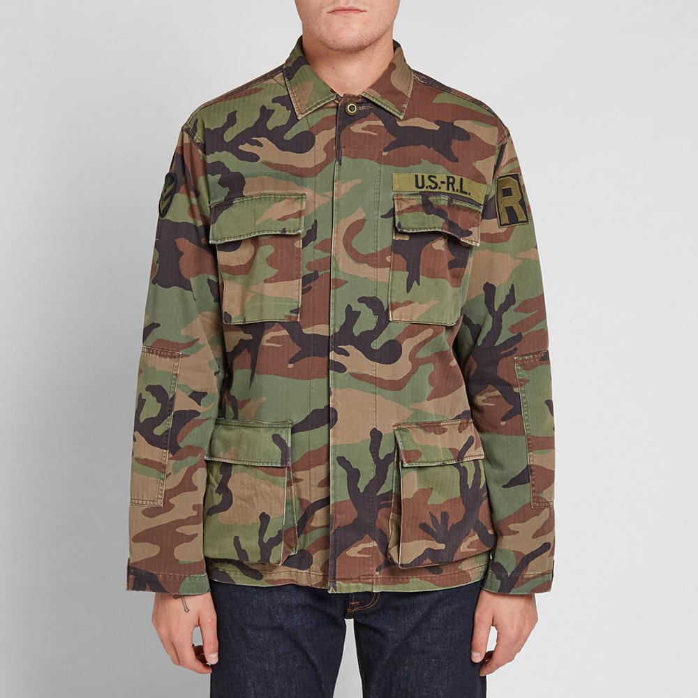 Lyst polo ralph lauren airborne shirt jacket in green for Polo shirt with jacket