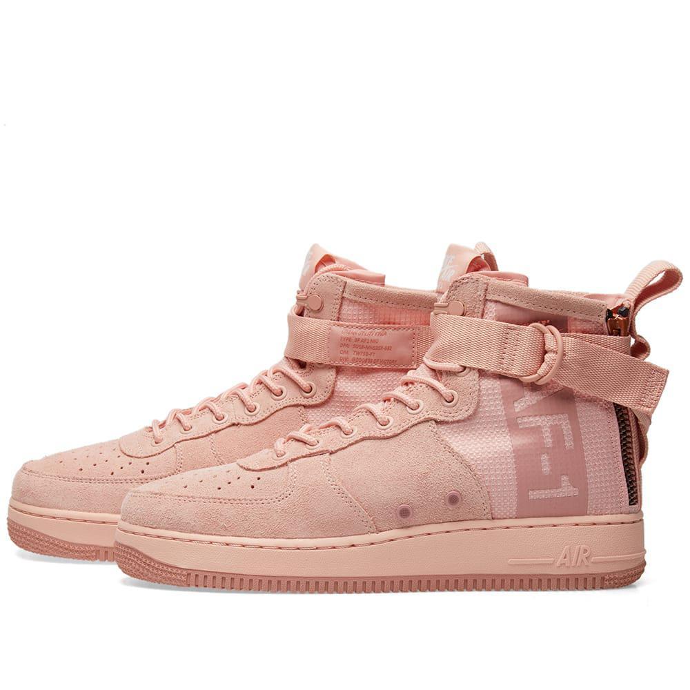 Nike Sf Air Force 1 Mid Suede in Pink