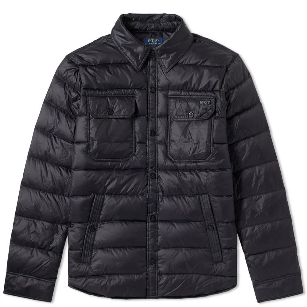 Lyst polo ralph lauren quilted shirt jacket in black for men for Polo shirt with jacket