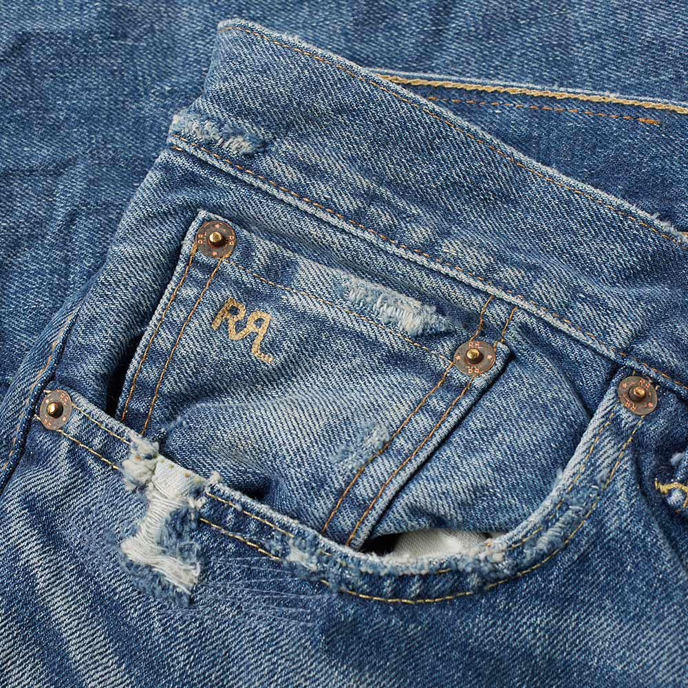 RRL Denim Slim Fit Rip & Repair Washed Jeans in Blue for Men