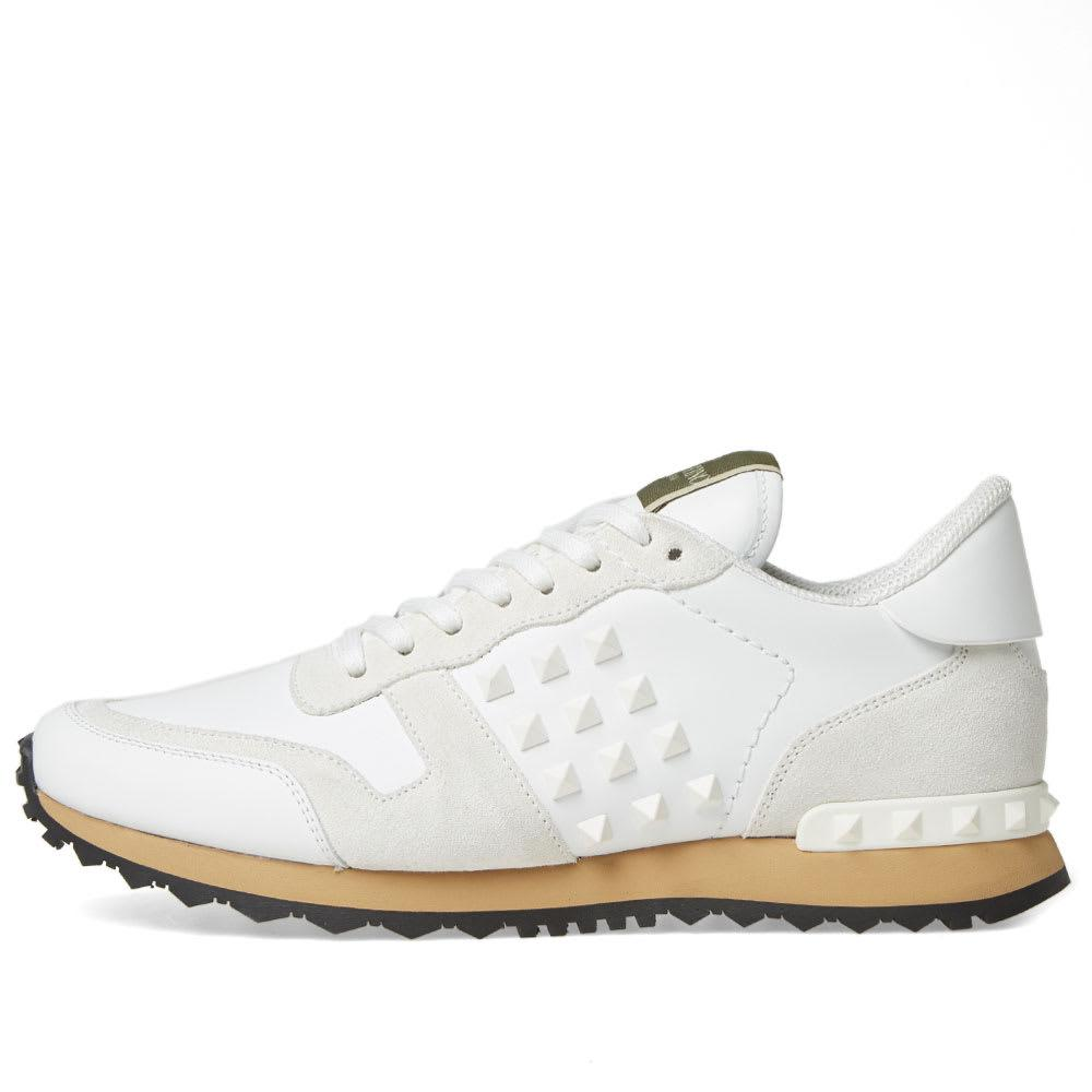 best selling size 7 no sale tax Valentino Leather Rockrunner Sneaker in White for Men - Lyst
