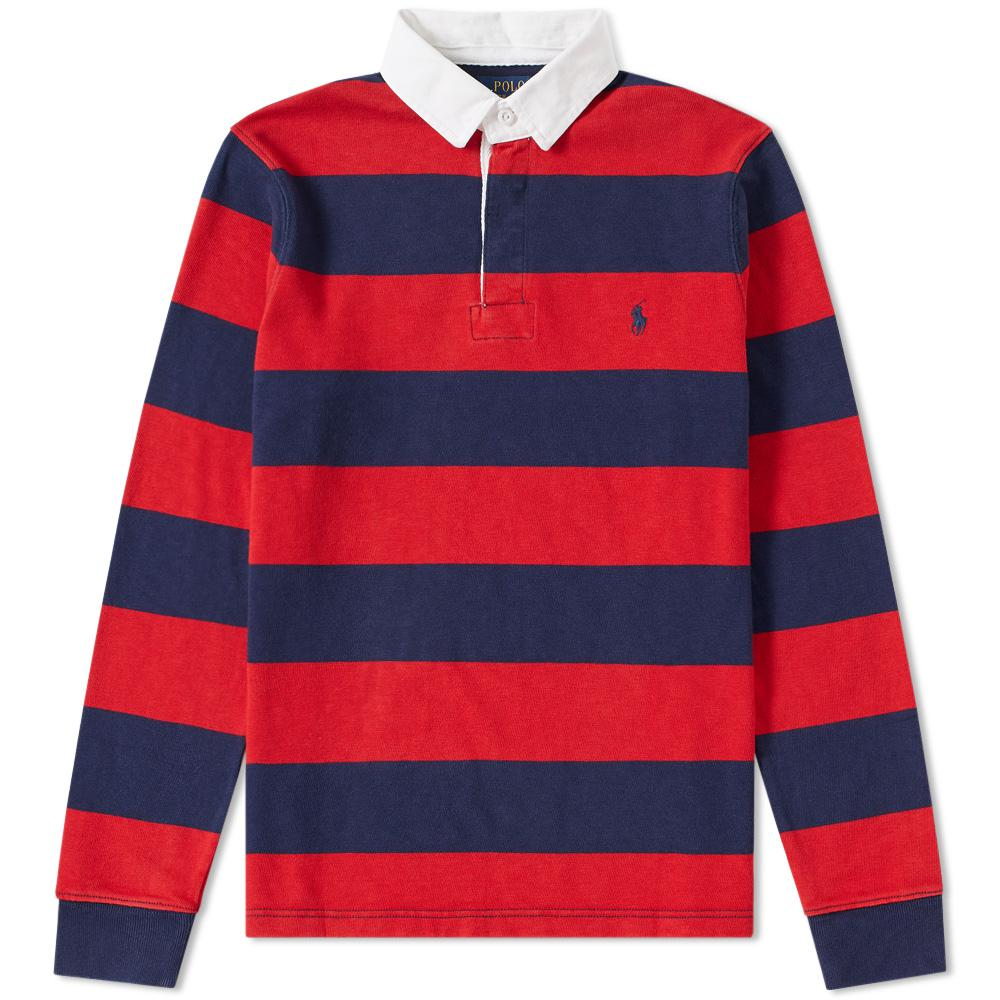 Lyst Polo Ralph Lauren Stripe Rugby Shirt In Red For Men