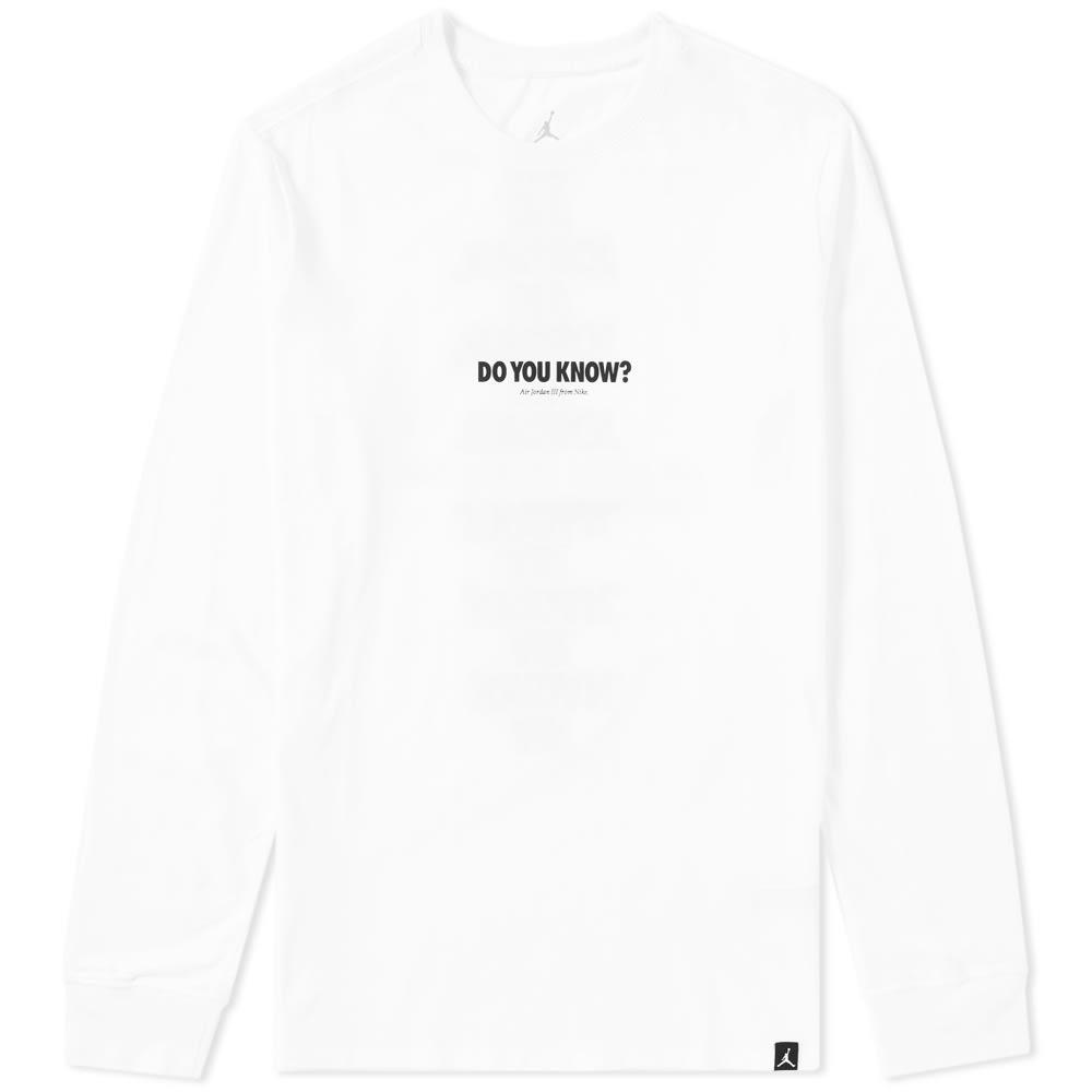 771cba2e0a16 Lyst - Nike Jordan Long Sleeve Aj 3 Do You Know Tee in White for Men