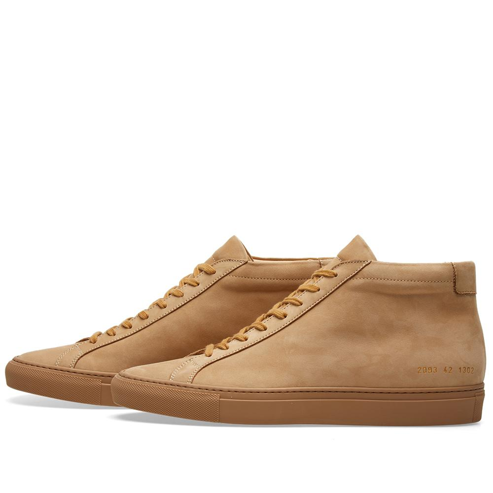 Common Projects Leather Original Achilles Mid Nubuck in Brown for Men