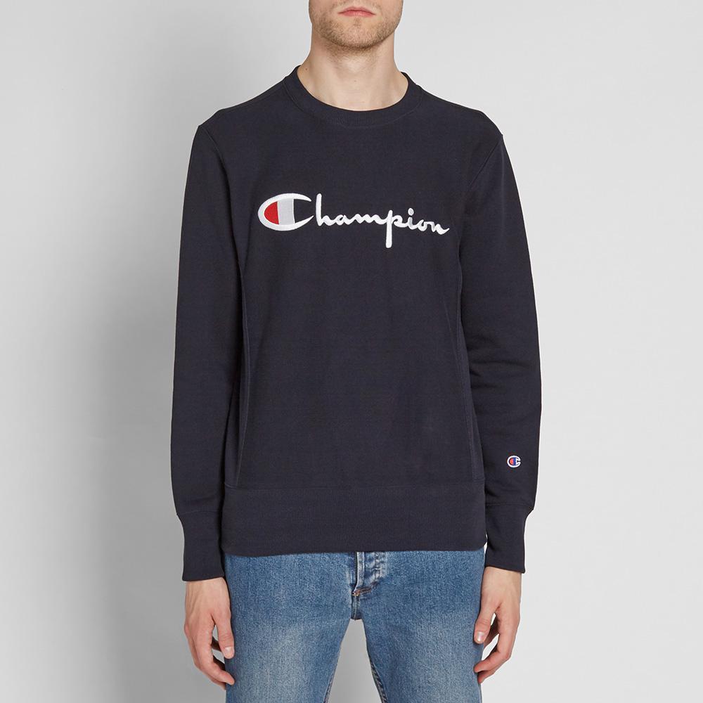 lyst  champion script logo crew sweat in blue for men