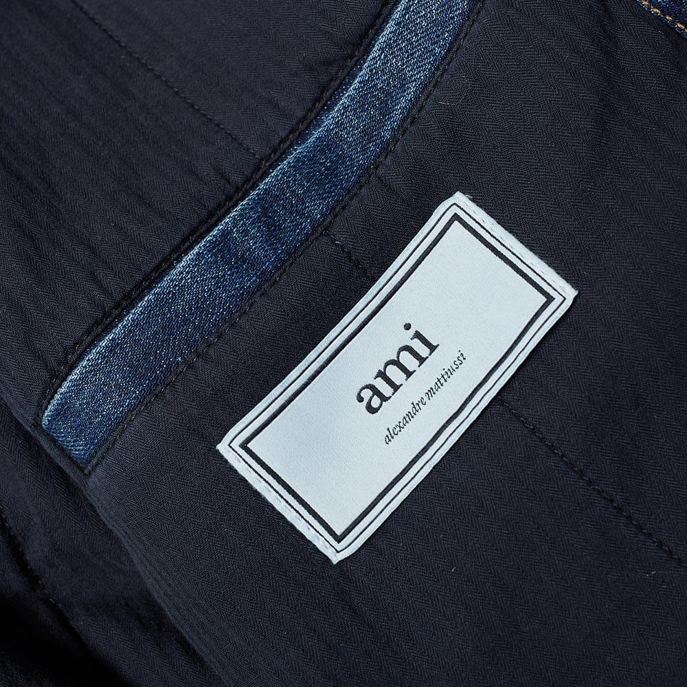 AMI Wool Collar Denim Jacket in Blue for Men