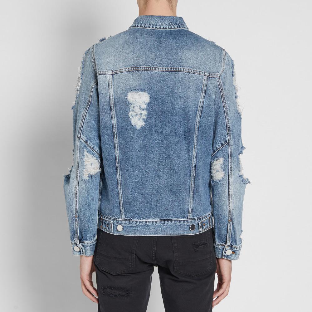 Balmain Destroyed Denim Jacket In Blue For Men Lyst
