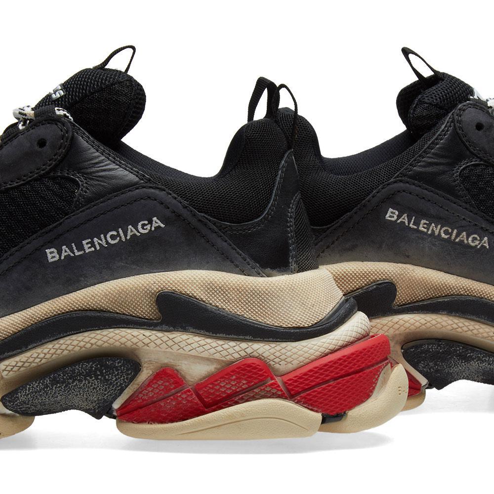 lyst balenciaga vintage triple sole sneaker in black for men