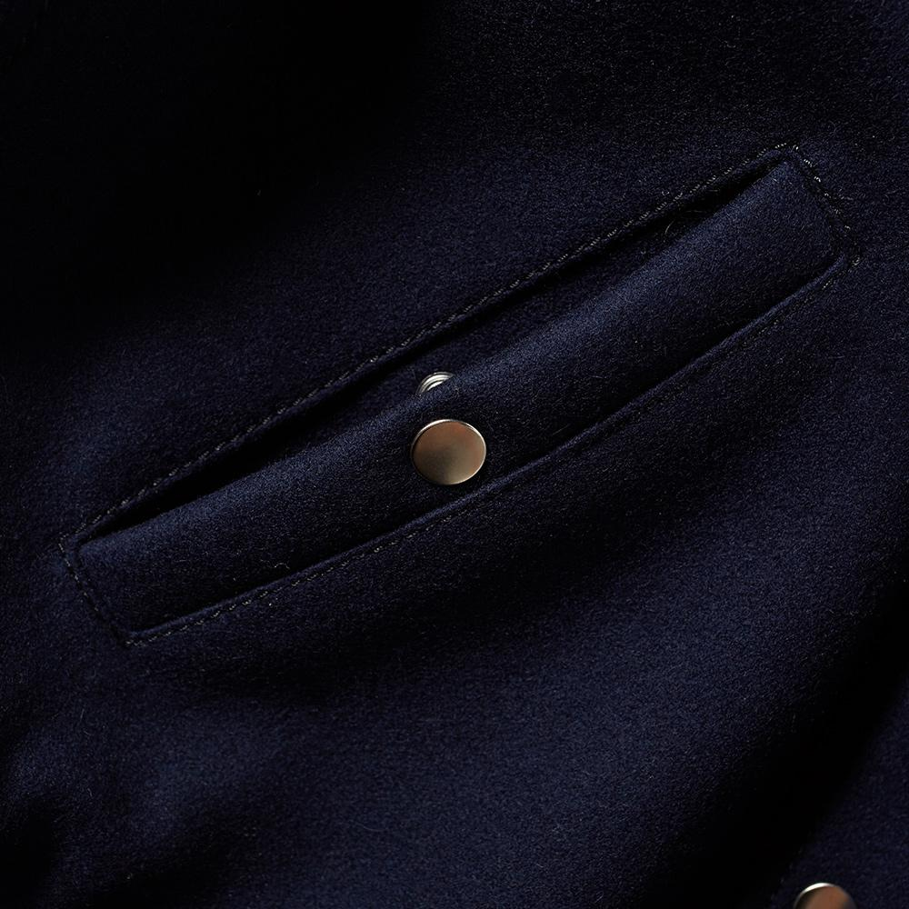 AMI Leather Sleeve Teddy Jacket in Black for Men