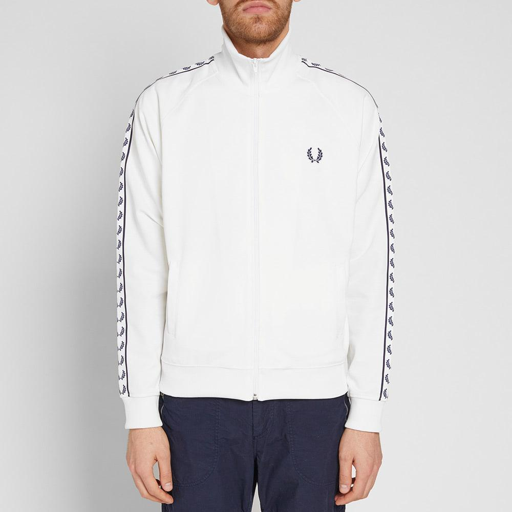 Fred Perry Synthetic Fred Perry Laurel Taped Track Jacket in White for Men