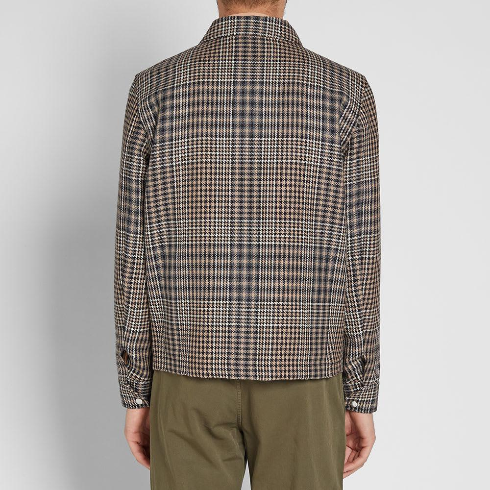 AMI Checked Wool Coach Jacket in Brown for Men