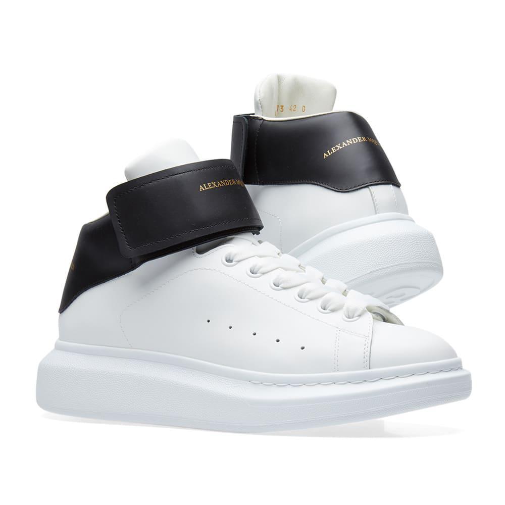0918f87cec0f Lyst - Alexander McQueen Wedge Sole Triple Velcro Sneaker in White ...