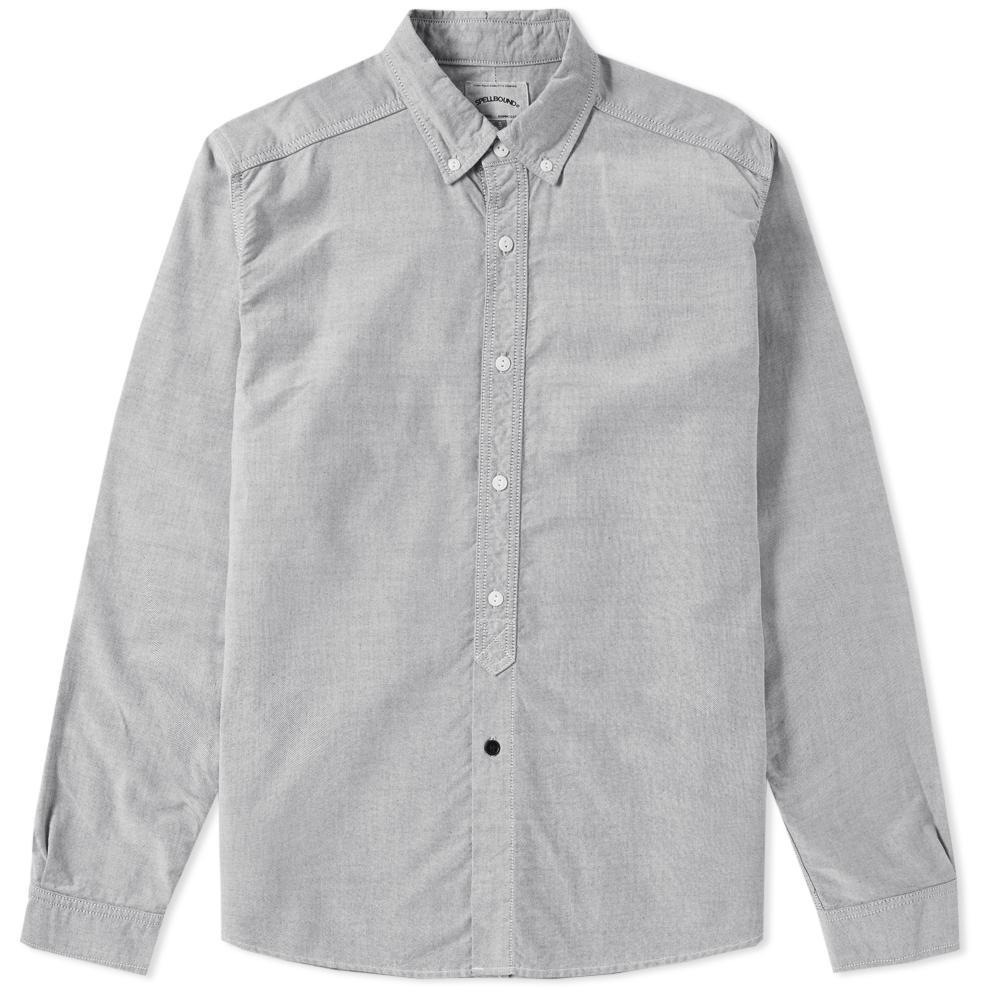Lyst spellbound button down oxford shirt in gray for men for Mens grey button down dress shirt