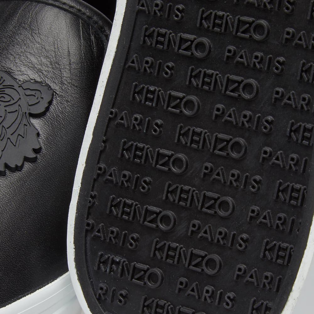 KENZO Tiger Logo Leather Slip On in Black for Men