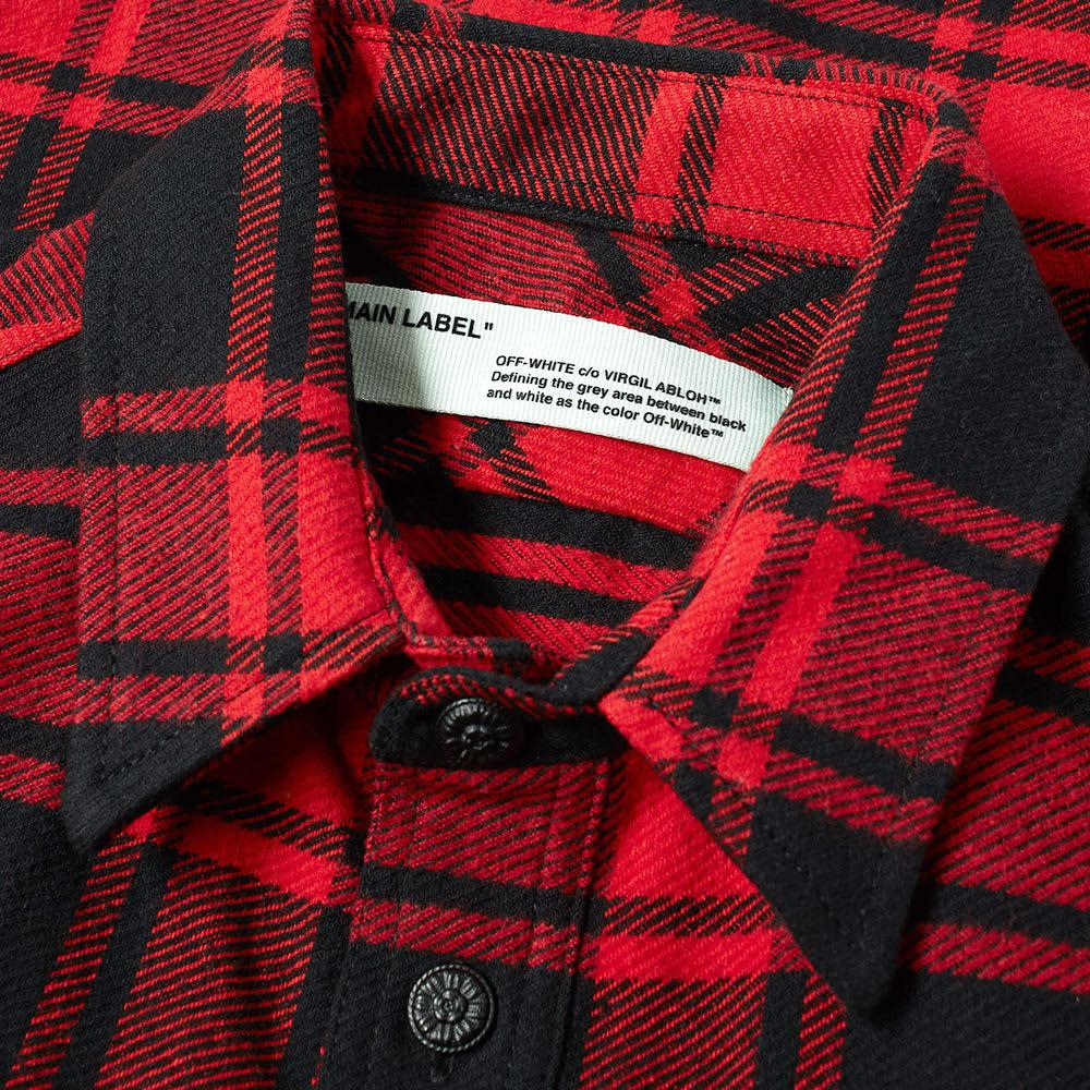 5024641f75e6 Lyst - Off-White c o Virgil Abloh Quote Flannel Shirt in Red for Men